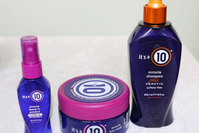 Cuidados com os cabelos: a linha da marca It's a 10 miracle. Shampoo, máscara, leave-in
