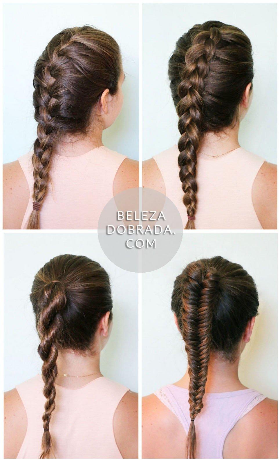 Ideias para penteados: trança embutida, invertida, trança-corda e escama de peixe.