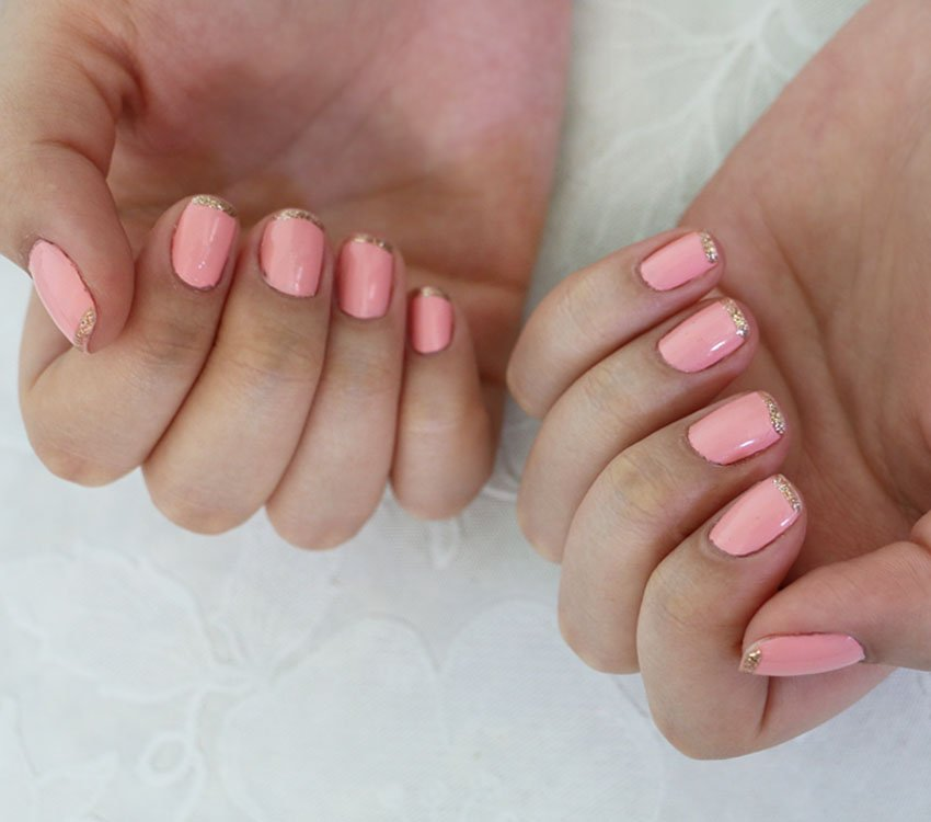 unha-francesinha-dourada-rosa