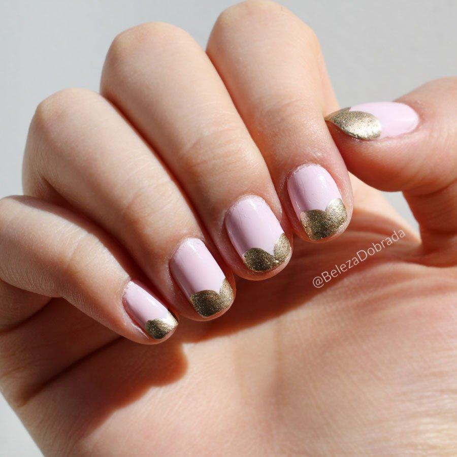 Unha da semana rosa com dourado; esmalte da Vult
