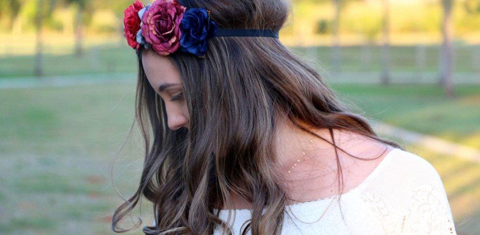 Look do dia com coroa de flores da Forever 21