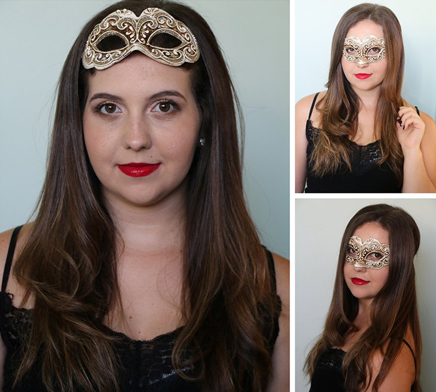 look de carnaval com make e máscara dourada