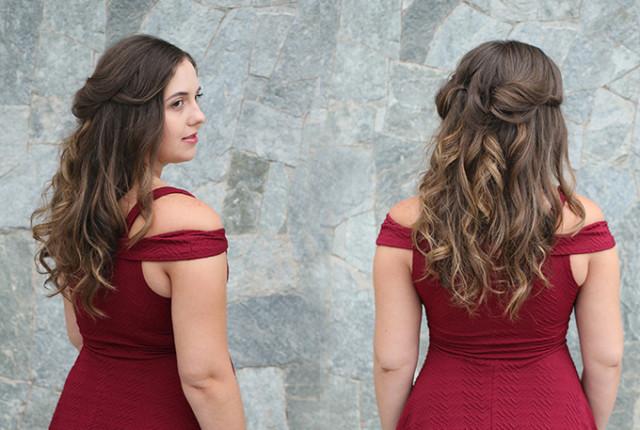Penteado romântico com cachos, inspirado na Bela